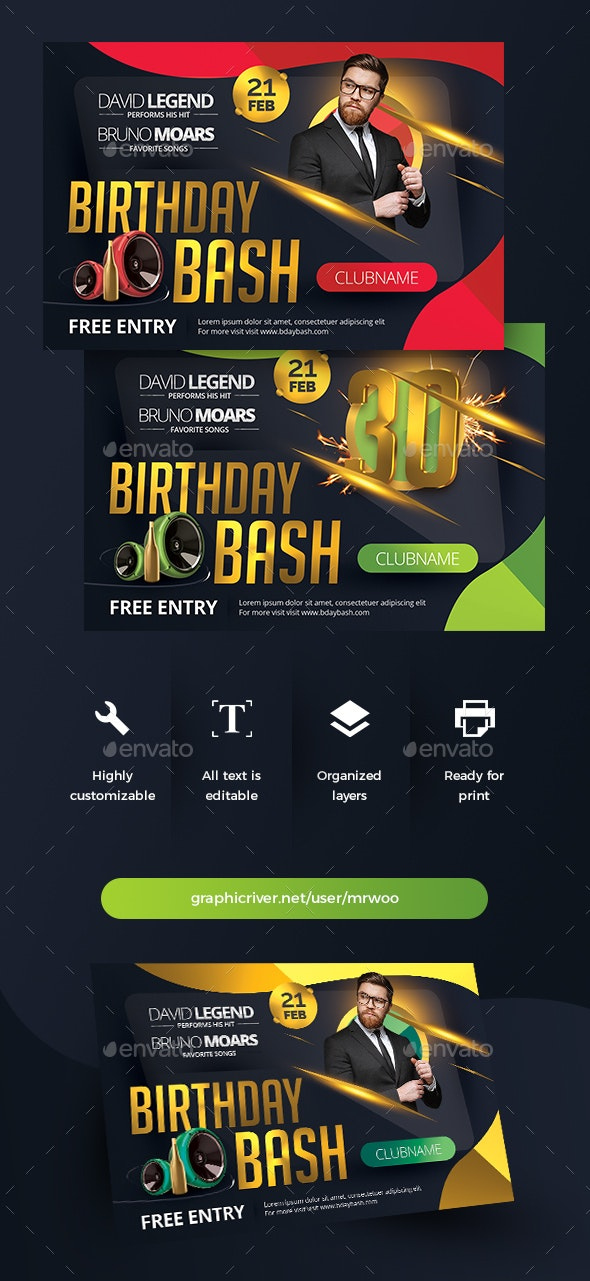 Birthday Bash Flyer v4 - Clubs & Parties Events