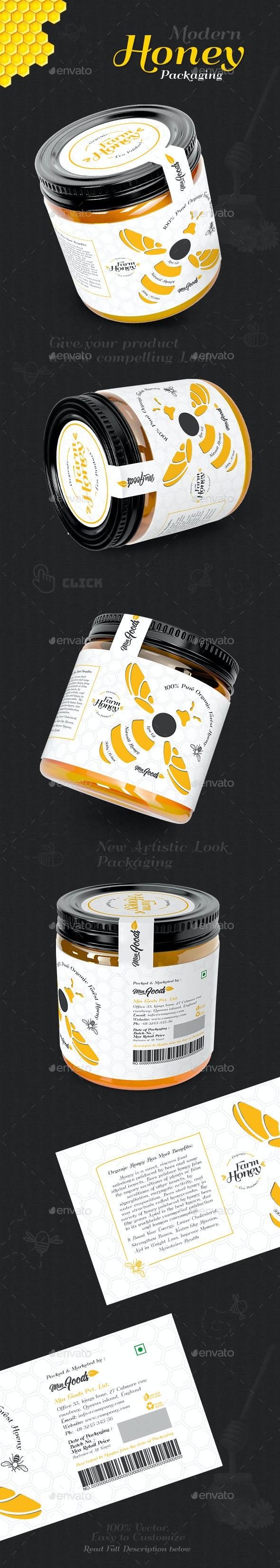 Modern Honey Packaging - Packaging Print Templates