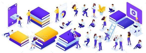 Isometric Set People for Education - People Characters