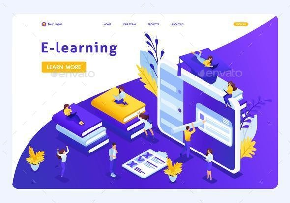 Isometric Landing Page for Education - Web Technology