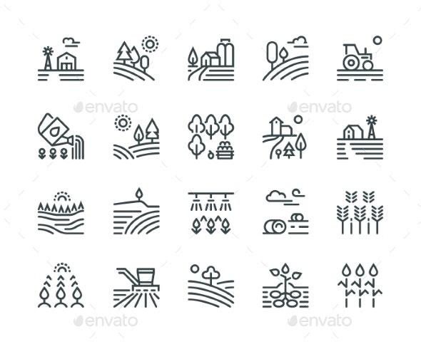 Farming Landscape Line Icons - Miscellaneous Vectors