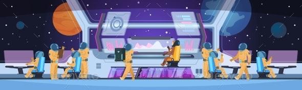 Spaceship Futuristic Interior Spacecraft Captain - Computers Technology