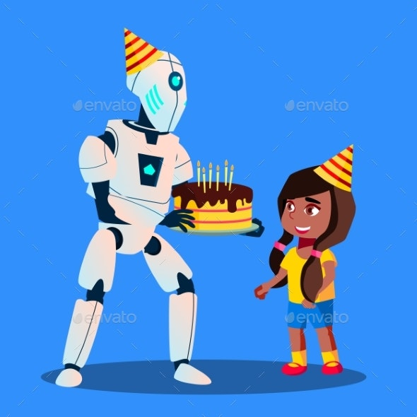 Robot With Birthday Cake In Hands At Celebration - Technology Conceptual