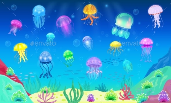 Jellyfish Vector Ocean - Animals Characters