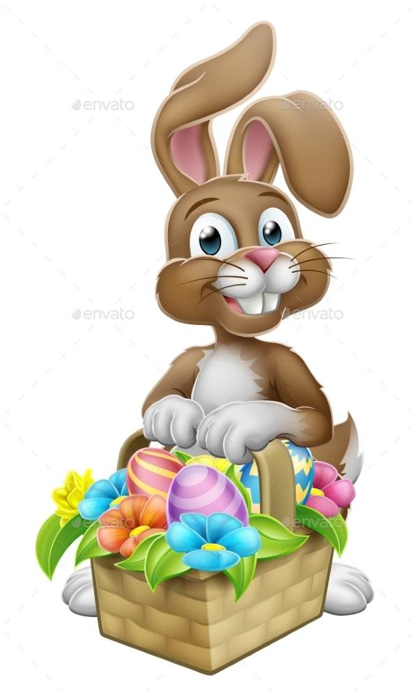 Easter Bunny Rabbit Eggs Hunt Basket Cartoon - Seasons/Holidays Conceptual