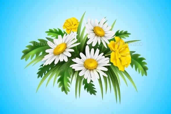 Vector 3d Yellow Diasy Cornflower Elegant Bouquet - Flowers & Plants Nature