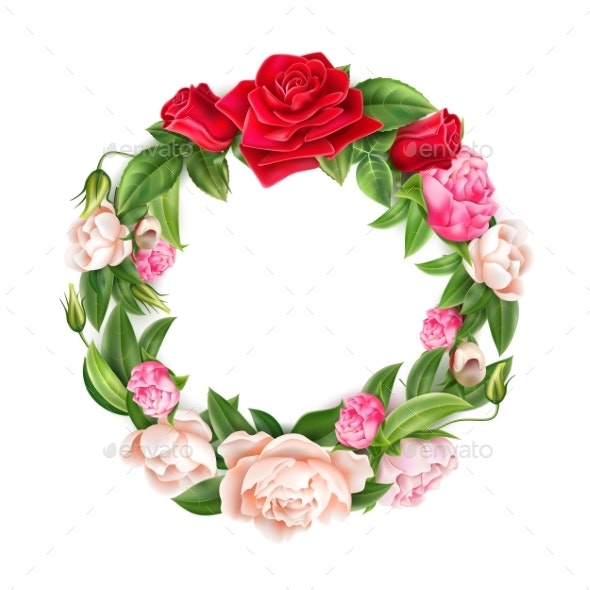 Vector Realistic Red Rose Peony Elegant Wreath - Flowers & Plants Nature