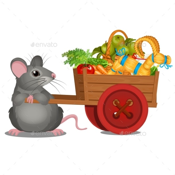 Animated Gray Mouse Carries a Wooden Cart - Animals Characters