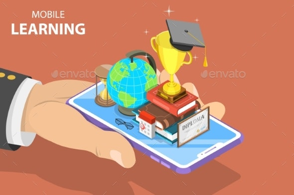 Flat Isometric Vector Concept of Mobile Education - Miscellaneous Vectors