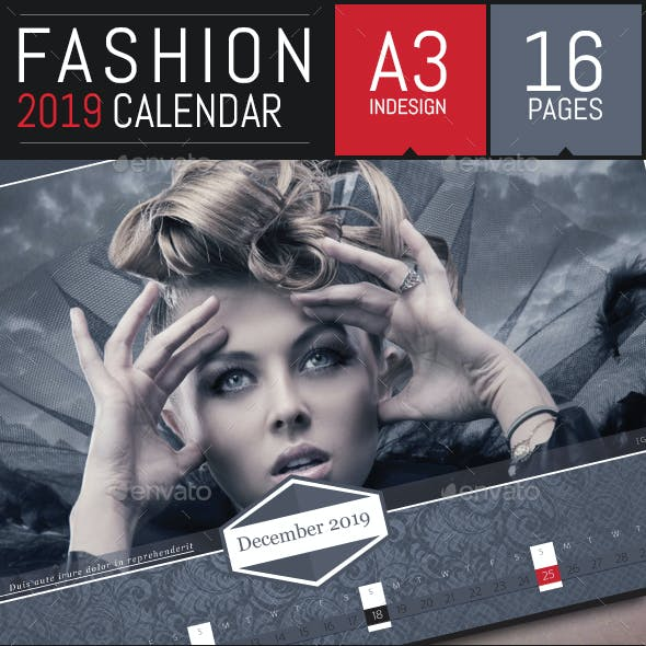 Fashion Corporate 2019 Horizontal Calendar Template