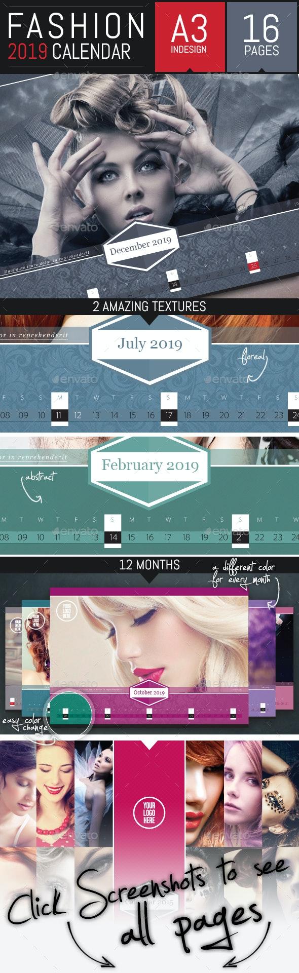 Fashion Corporate 2019 Horizontal Calendar Template - Calendars Stationery