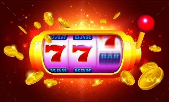 Royal Gold Slot Machine with Icons and Coins - Miscellaneous Vectors