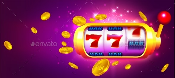 Trendy Casino Vector with Slot Machine and Coins - Miscellaneous Vectors