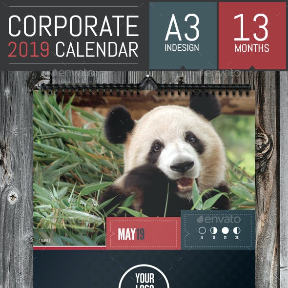 Stylish Corporate 2019 Calendar Template