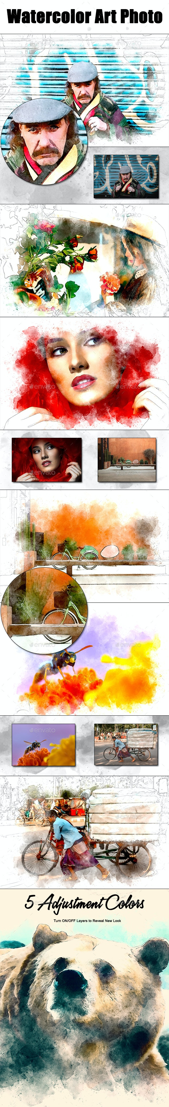 Watercolor Art Photo Frame - Photo Templates Graphics