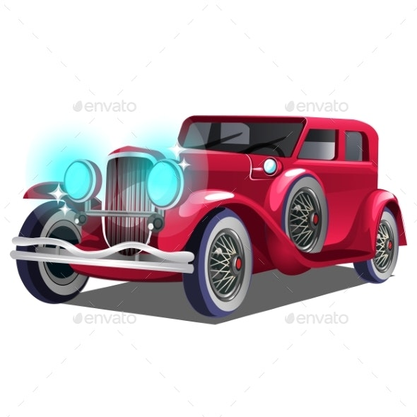 Vintage Retro Red Car Isolated on White Background - Man-made Objects Objects