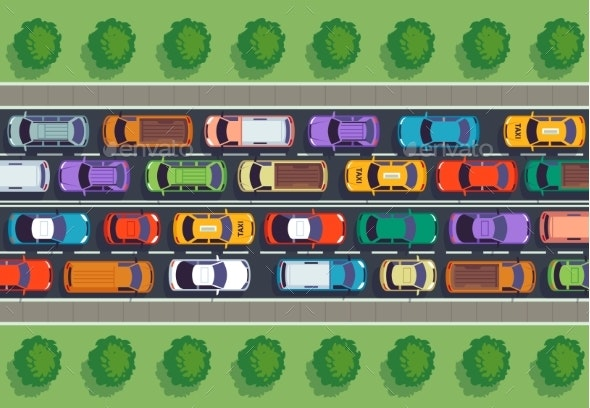 Traffic Jam Top View. Many Cars on Highway - Miscellaneous Vectors