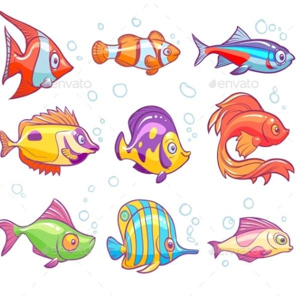 Cartoon Fishes. Aquarium Sea Tropical Fish Funny