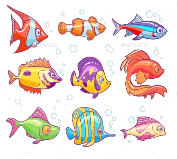 Cartoon Fishes. Aquarium Sea Tropical Fish Funny - Animals Characters