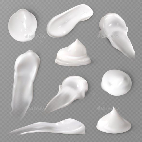 Realistic Cosmetic Cream Smears. White Creamy Drop