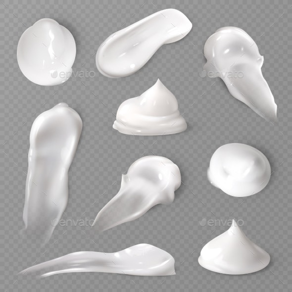 Realistic Cosmetic Cream Smears. White Creamy Drop - Man-made Objects Objects