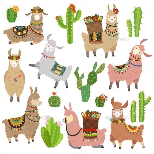 Llama Cactus. Chile Llamas Alpaca and Cacti Wild - Animals Characters