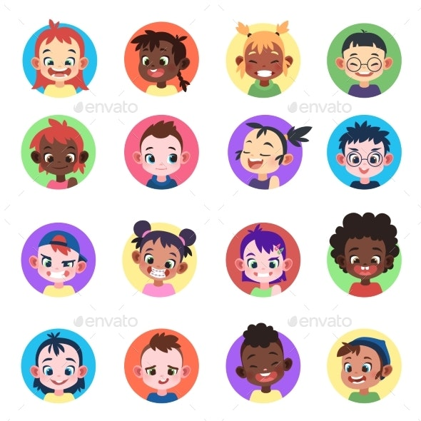 Kids Avatar. Faces Ethnic Cute Boys Girls Avatars - People Characters