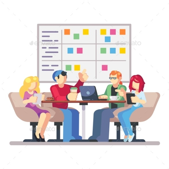 Team Working Together on an IT Startup Business - Concepts Business