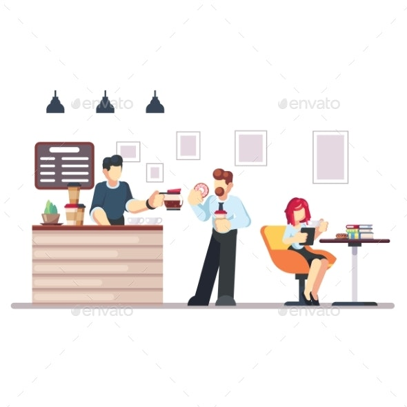 Cafe Shop and People Relaxing - Food Objects