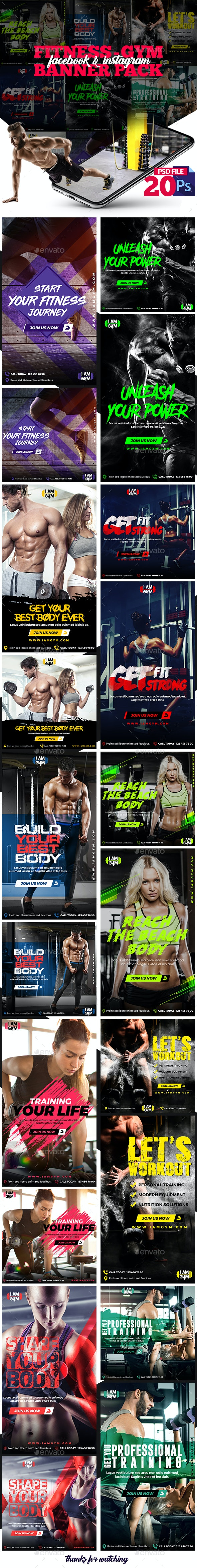 Fitness-GYM Instagram Post and Stories - Social Media Web Elements