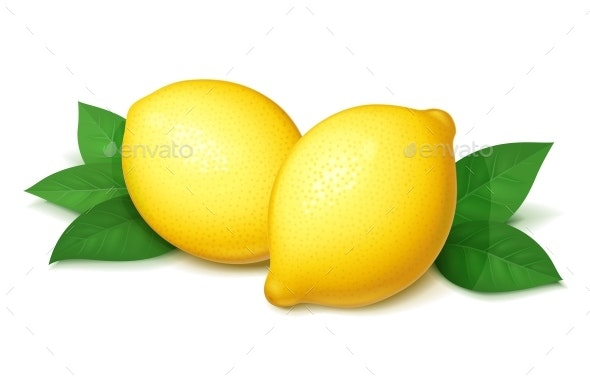Lemon with Green Leaves - Food Objects