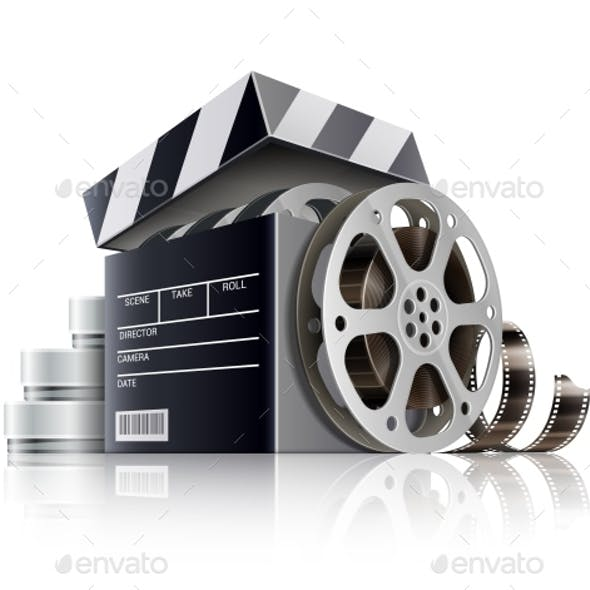 Cinema Concept. Movie Black Film Box. Vector Illustration.
