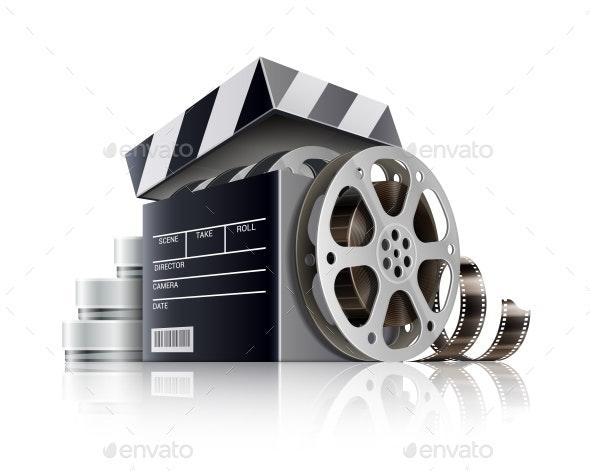 Cinema Concept. Movie Black Film Box. Vector Illustration. - Vectors