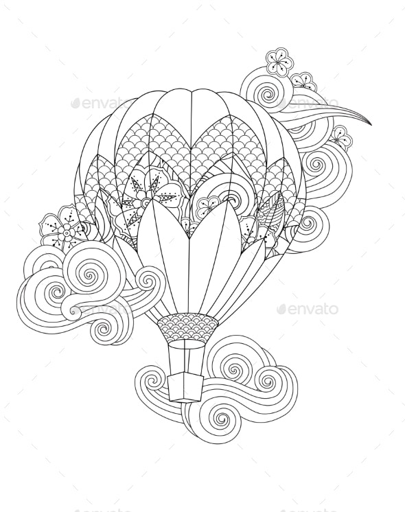 Hot Air Balloon in Zentangle Inspired Doodle Style - Man-made Objects Objects