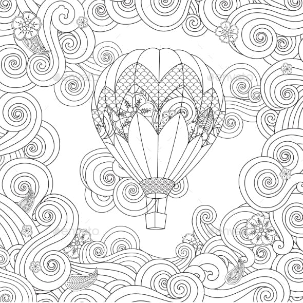 Hot Air Balloon in Zentangle Inspired Doodle Style