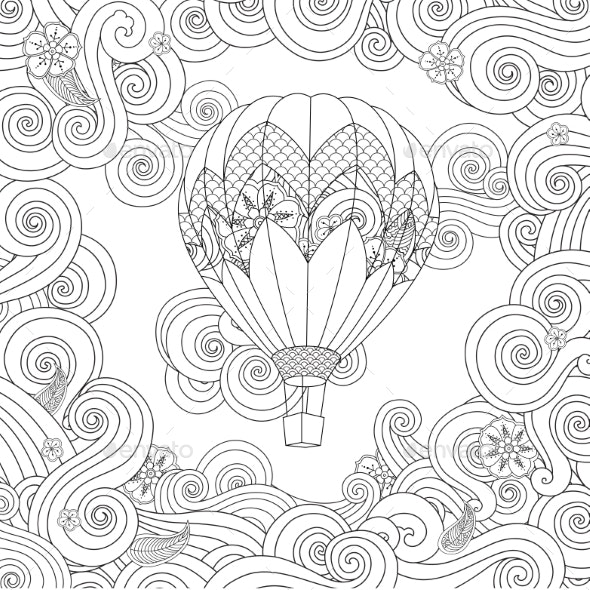 Hot Air Balloon in Zentangle Inspired Doodle Style - Flourishes / Swirls Decorative