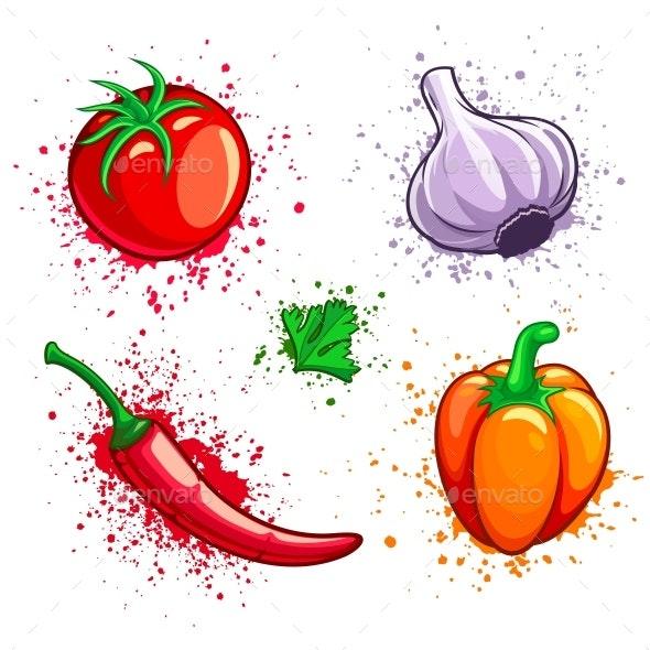 Set of Fresh Vegetables Cherry Tomato Pepper Garlic Chili. - Vectors
