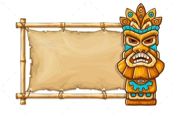 Tiki Traditional Hawaiian Tribal Mask. Vector Illustration. - Vectors