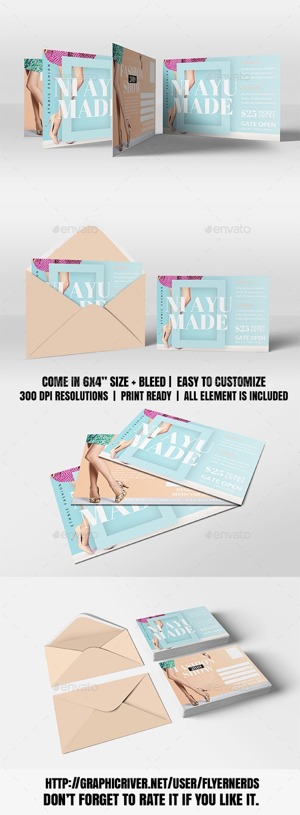 Fashion Design Promotion PostCard - Cards & Invites Print Templates