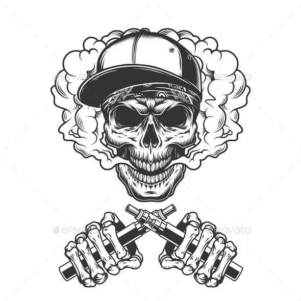Vintage Hipster Skull in Smoke - Miscellaneous Vectors