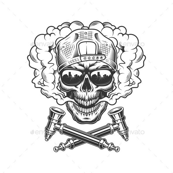 Vintage Skull in Smoke - Miscellaneous Vectors
