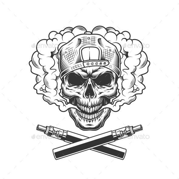 Vintage Skull Wearing Cap - Miscellaneous Vectors