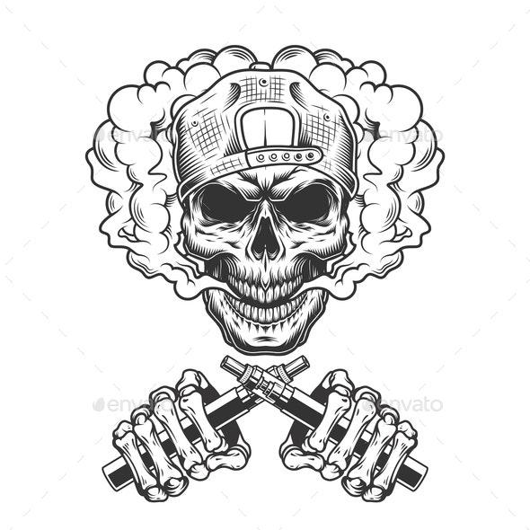 Vintage Skull in Cap - Miscellaneous Vectors