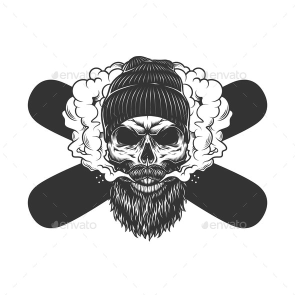 Vintage Bearded Skull - Sports/Activity Conceptual