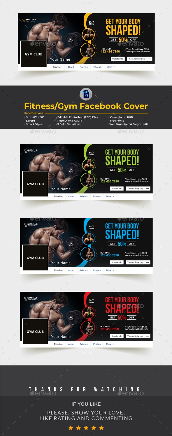 Fitness-Gym Facebook Cover Template - Facebook Timeline Covers Social Media