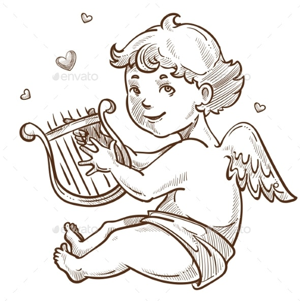 Angel with Harp and Wings Cupid Valentines Day - People Characters