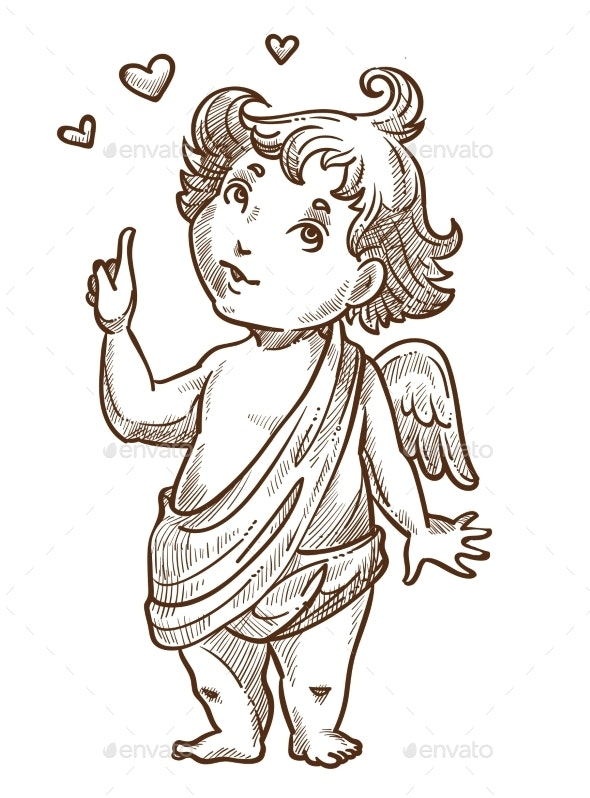 Cupid or Valentines Day Angel with Wings Sketch - Miscellaneous Vectors