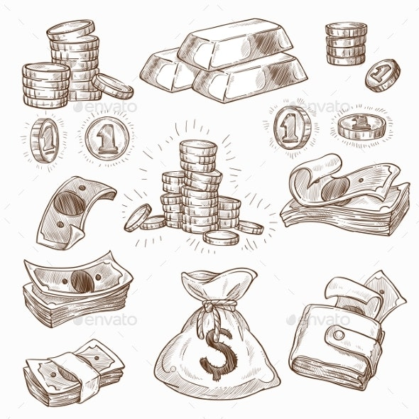 Money and Gold Coins and Banknotes Wallet or Bag - Concepts Business