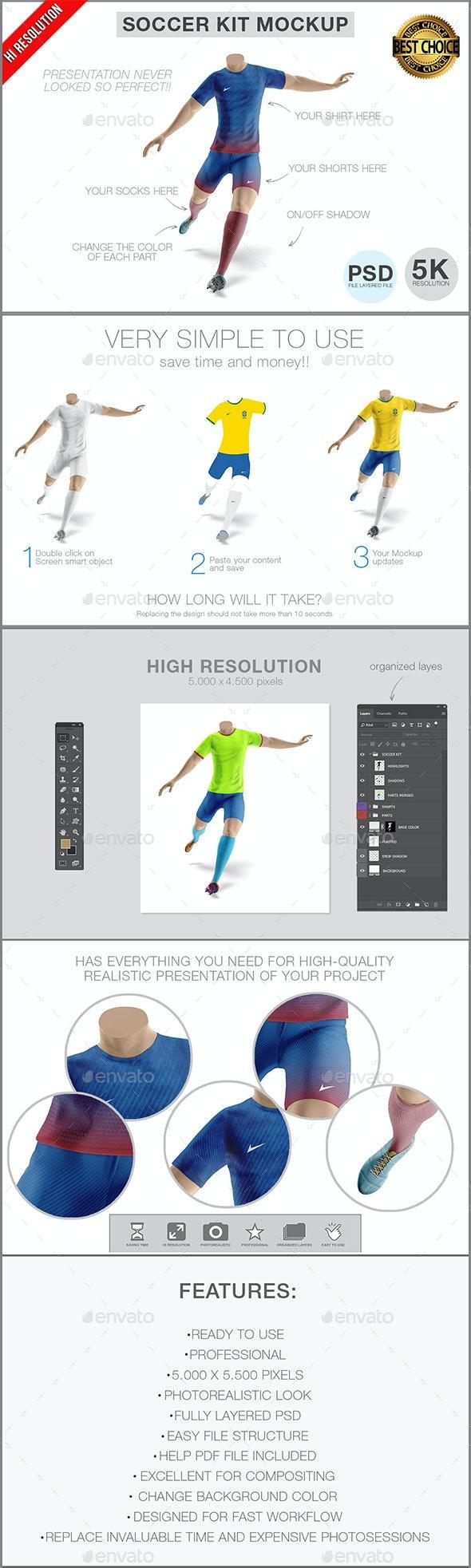Soccer Team Kit Mockup - Product Mock-Ups Graphics