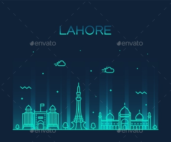 Lahore Skyline Pakistan County City Vector - Buildings Objects